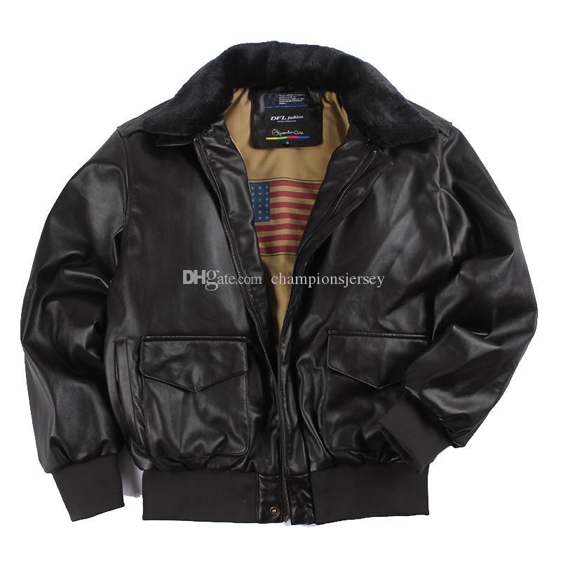 Casaco de couro clássico do vintage do plutônio pele da força aérea dos eua retro e couro em um piloto masculino de couro da motocicleta jaqueta com golas