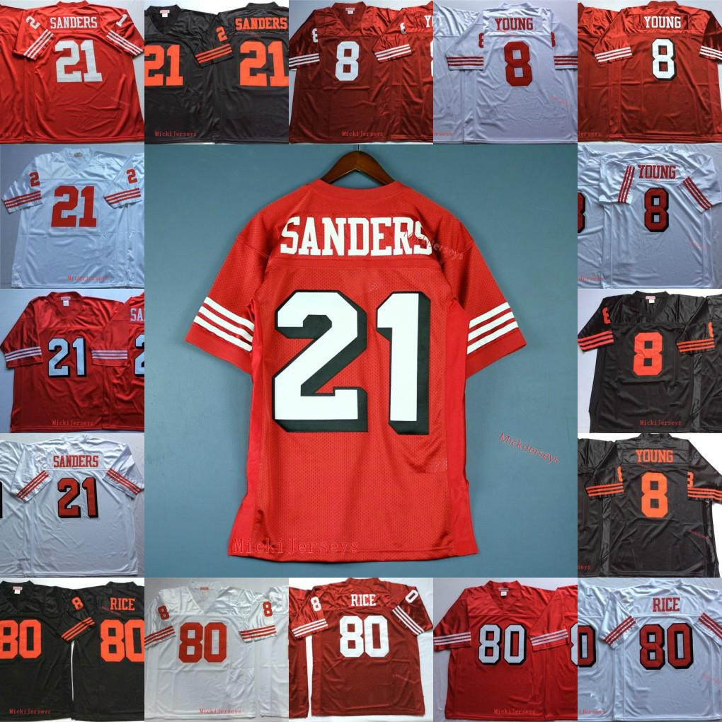 Mens # 8 Steve Young Football Jersey costurado # 21 Deion Sanders # 80 Jerry Rice 75TH Jersey Vintage