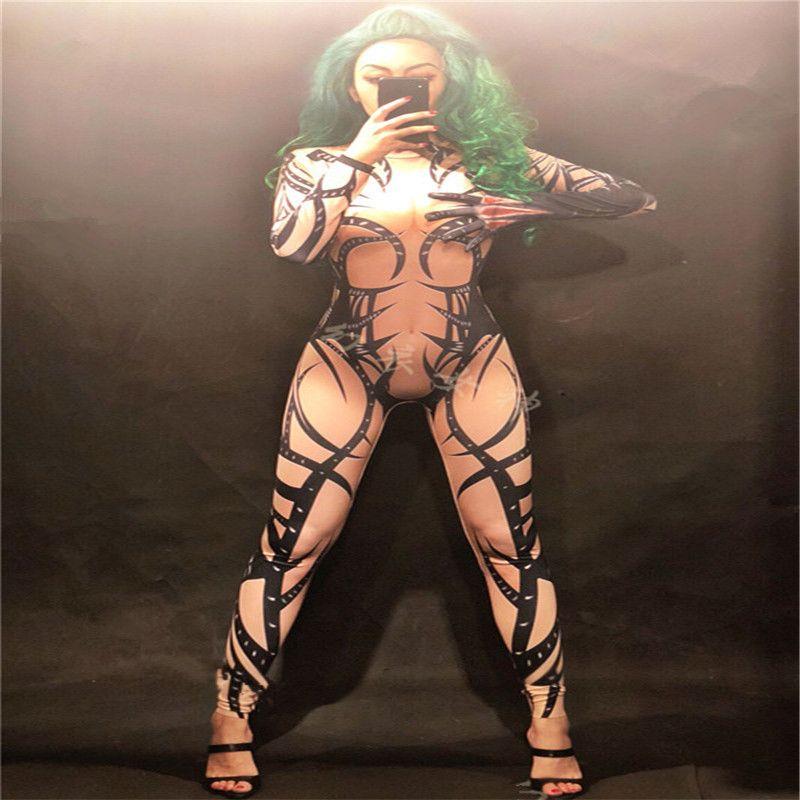 S54 Party gogo spectacle porte des costumes Tattoo impression Body femmes chanteur performance combinaison robe du club tenue dj chanteur habillent salle de bal