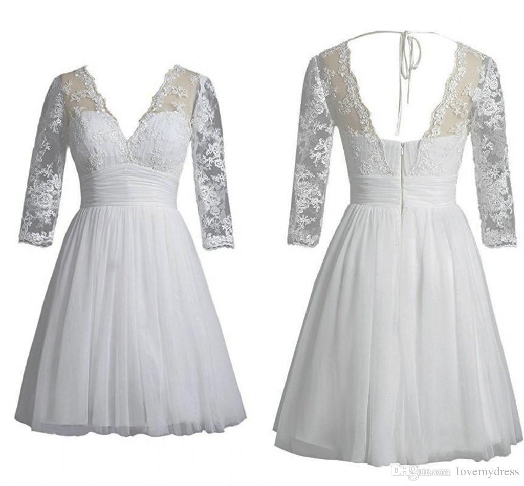 С длинным рукавом кружева жемчуг короткие свадебные платья 2019 V-образным вырезом с открытой спиной шифон пляжное свадебное платье свадебные платья страна партия дешево