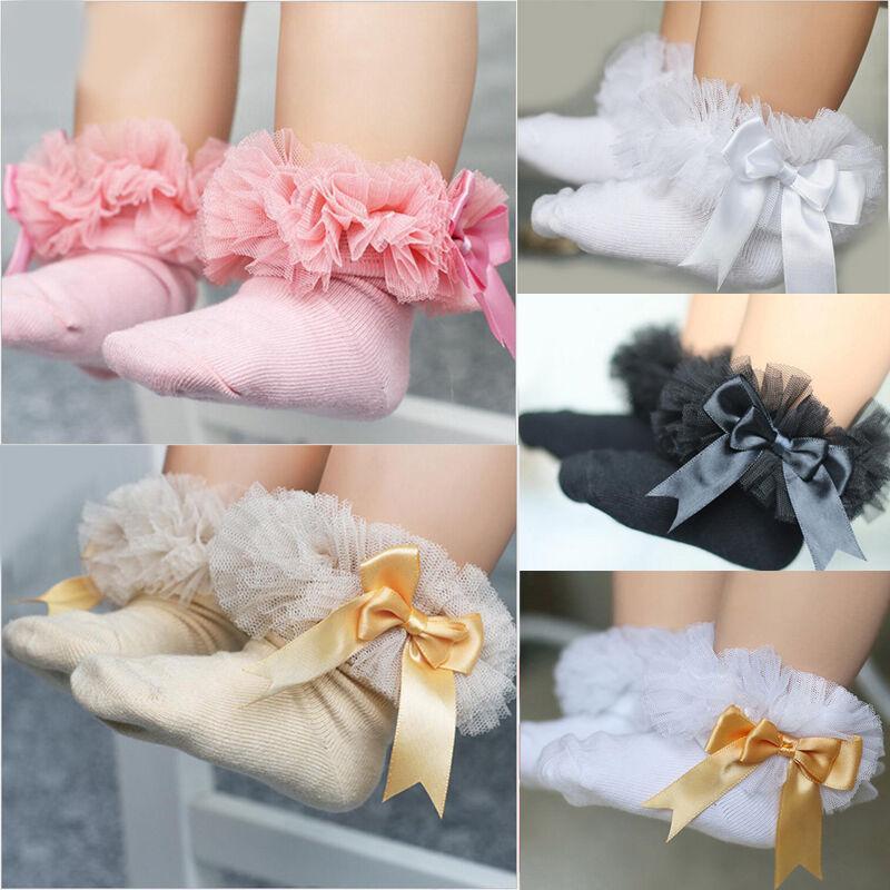 Носки Baby Girls Princess Bowknot Sock Kids Lace Rack Frilly лодыжка для рождения