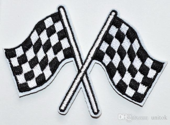 (Größe: ca. 8,5 * 5,5 cm) ~ Zielflagge Karo Autorennen Rockabilly Applique Eisen auf Patch neu