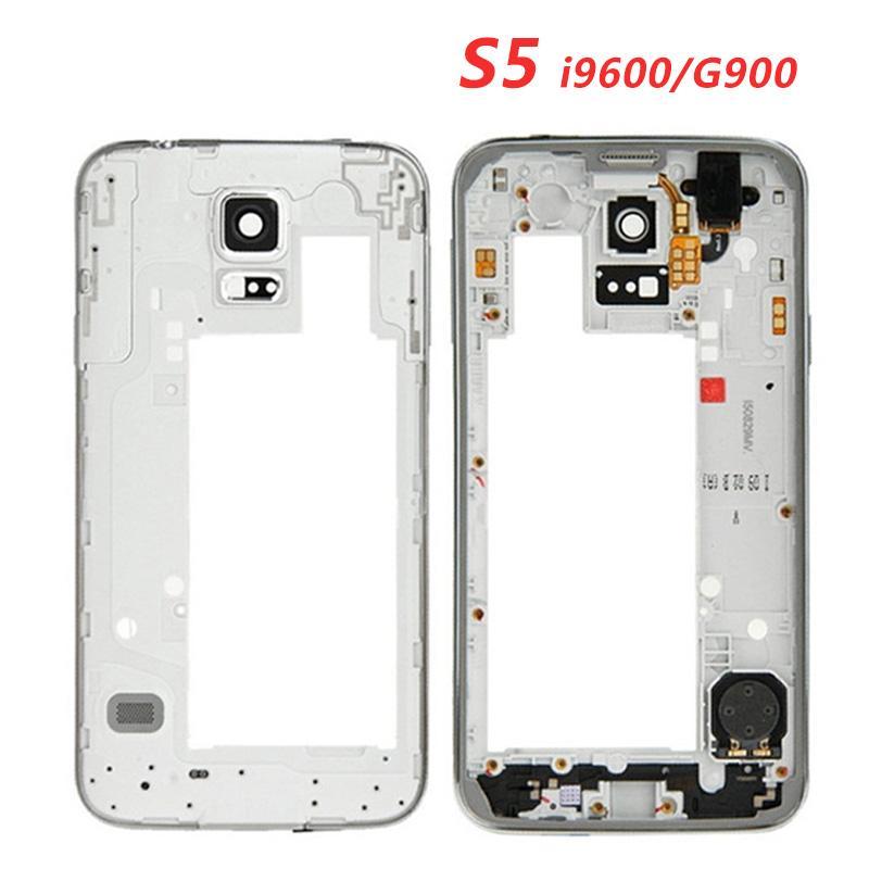 Plaque LCD centrale d'origine Boîtier cadre Bezel caméra Pour Samsung Galaxy S5 i9600 G900F G900M G900H G900P