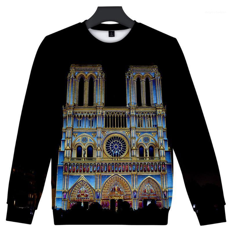 بلوفرز o-neck Bullovers Long Sleeds Fashion Mens 3D Designer Hoodies Notre Dame de Paris