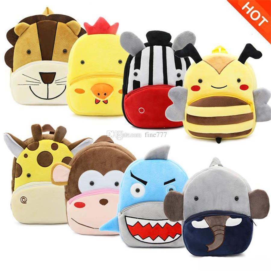 Girls Plush Animal Backpacks Unicorn Piggy Kitten Hippo Crab Turtle Frog Hedgehog 3D Design Zoo 3D Shoulders Backpack Kindergarten Baby 2-4T