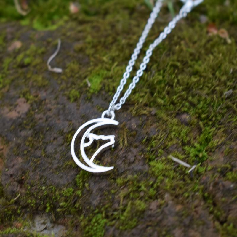 hollow moon wolf necklace camping jewelry