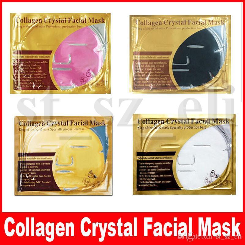 4 Stili Maschera per il viso al collagene Maschera per il viso Cristallo polvere d'oro Maschera per il viso al collagene Fogli Idratante Anti-invecchiamento Bellezza Cura della pelle