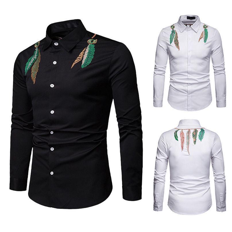 Camisas casuais dos homens impressão de moda de negócios de mangas compridas Único tops peito de inverno diário # 4f11