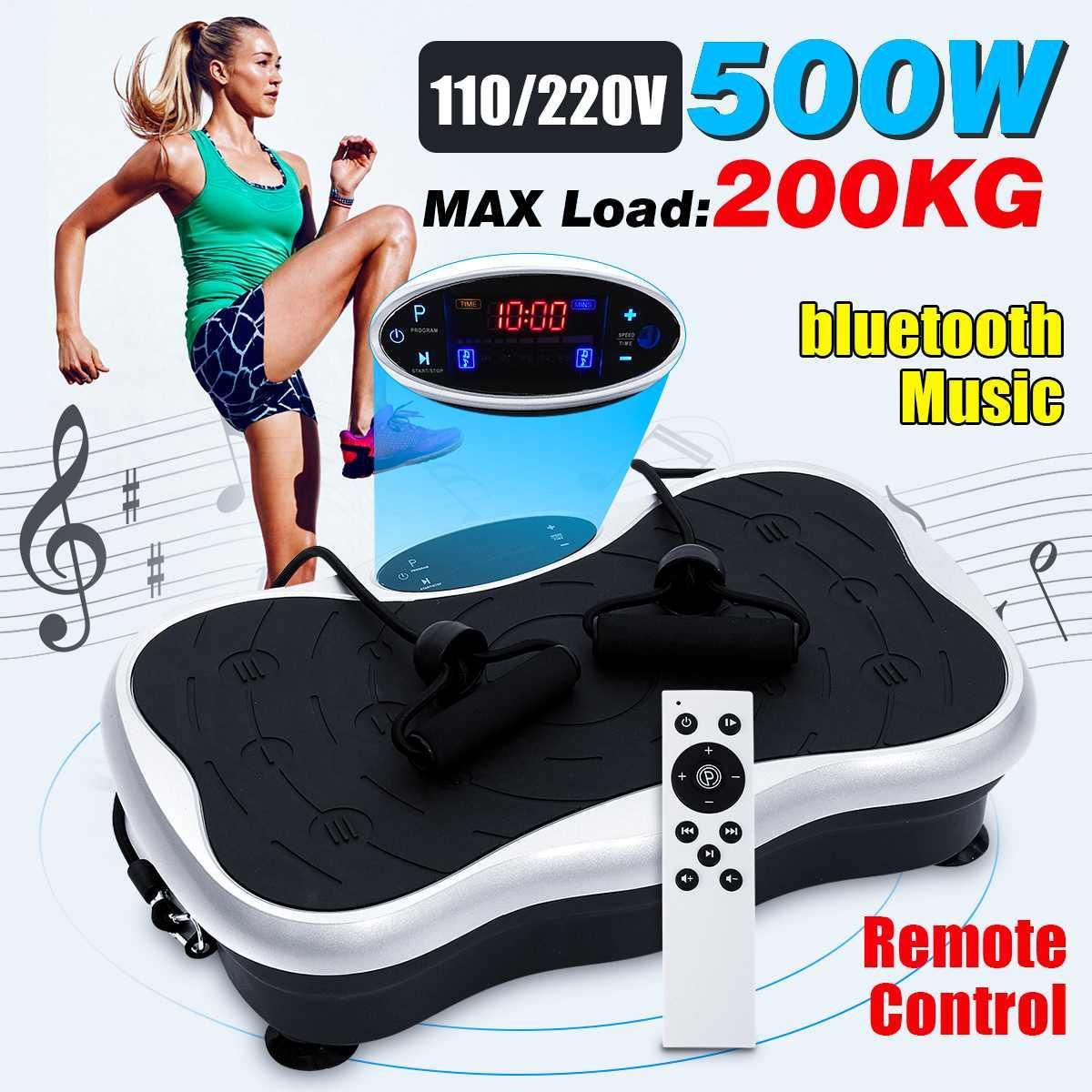 200KG441LBS Exercice Fitness Slim Vibration Machine Entraîneur Plate Plate-forme Body Shaper contrôle à distance avec la machine de bandes de résistance