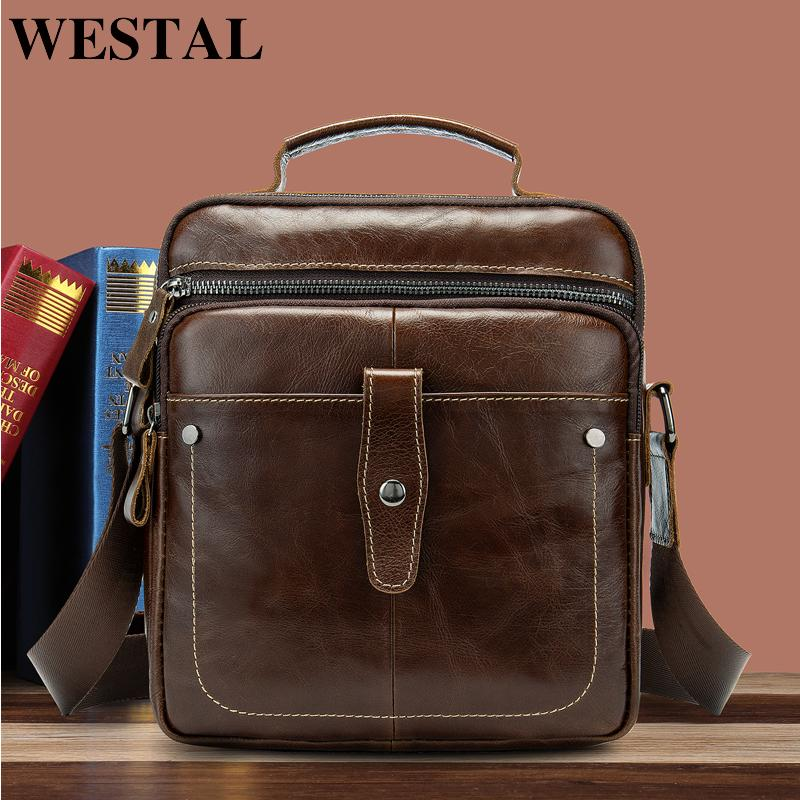 Genuine Leather Messenger Bag Men Shoulder Satchel Business Bags Clutch Handbag