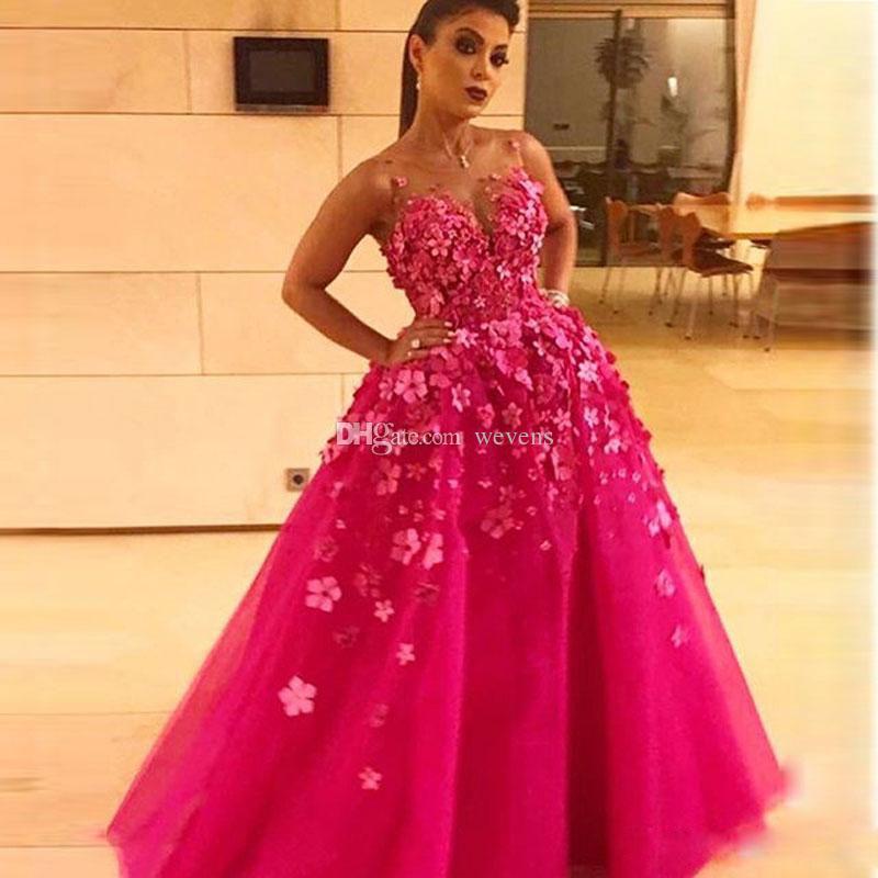 Chic fucsia tul Abric Dubai Vestidos de noche O Cuello hecho a mano Flor de cuentas Vestido de noche Puffy Falda Vestidos de fiesta formales