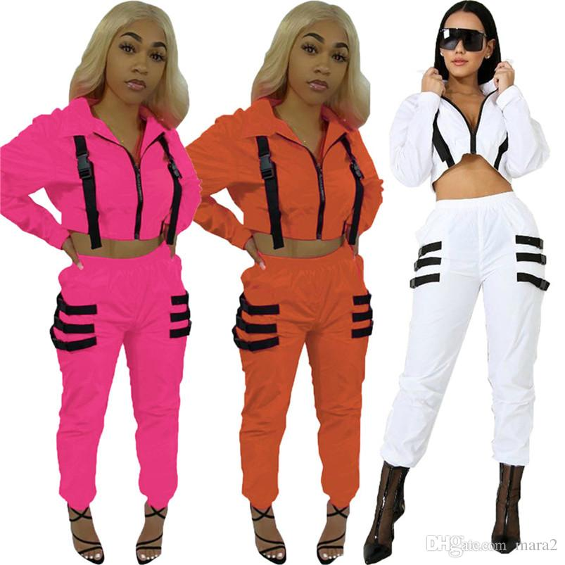 Pantaloni donna Cardigan 2 pezzo abiti impostare autunno inverno top tuta raccolto leggings in esecuzione il jogging tuta body outwear giacca abiti 1692