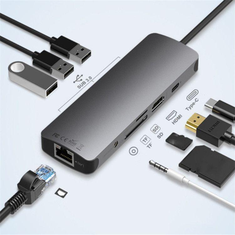 9 in 1 USB-C-HUB an Typ C PD HDMI 3,5 mm Audio-RJ45-Ethernet-LAN-Adapter SD TF Kartenleser USB-C-HUB für Macbook