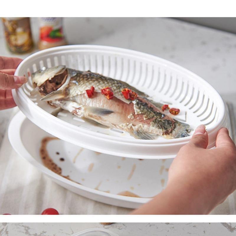 Recipiente De Peixe De Micro-Ondas De Plástico Recipiente De Peixe De Micro-Ondas Para Cozinhar Com Facilidade Prato Delicioso Degustação
