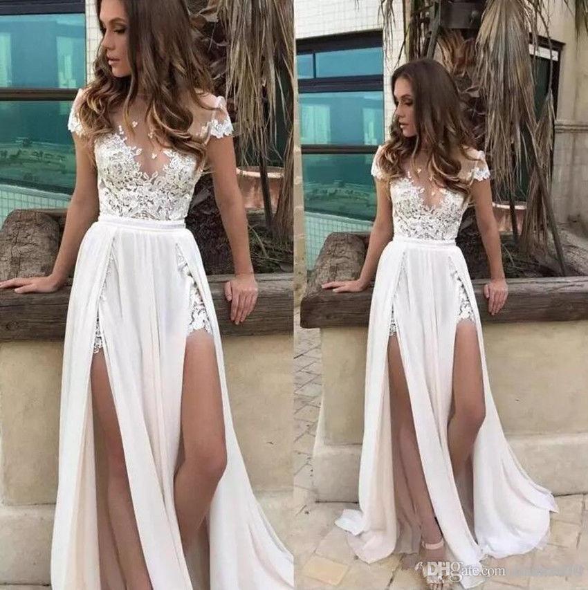 Sexy A Line Beach Wedding Dresses Side Split Sheer Jewel Neck Chiffon Lace Appliques Custom Engagement Dress Bridal Gowns