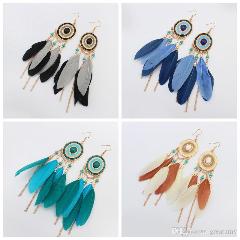 Bohemian feather fringed Earrings handmade girls fashion jewelry 5 colors offer choose round long vintage earrings