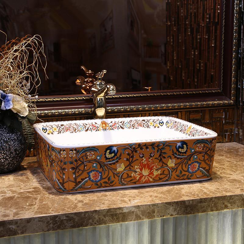 أوروبا نمط خمر الفن كونترتوب حوض المغسلة اليدوية حمام سيراميك سفينة المصارف الغرور وعاء بالوعة الحمام