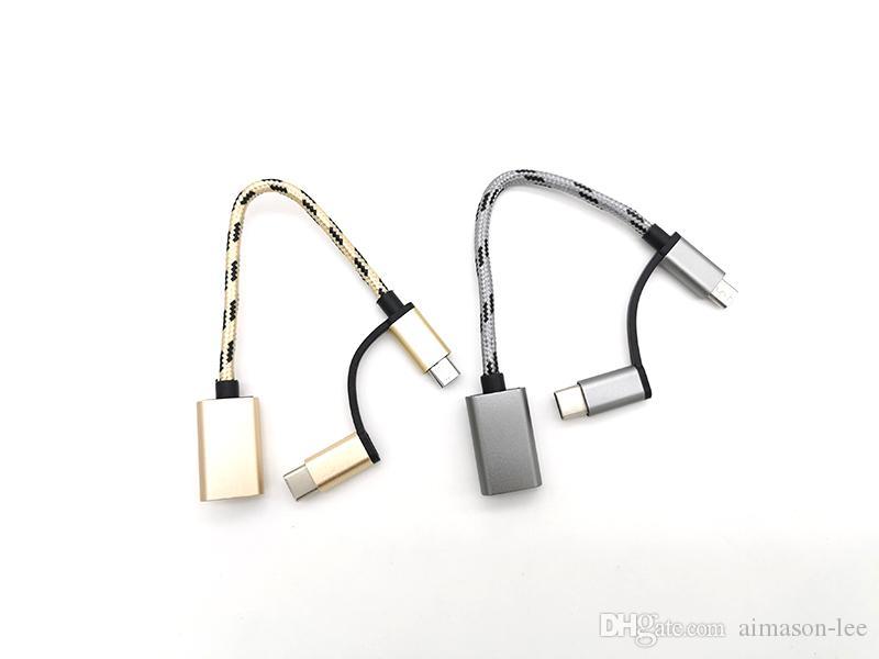 2 en 1 USB 3.0 OTG Cable Tipo C Micro USB a USB 3.0 Adaptador USB-C Cable de transferencia de datos a través de DHL 500+