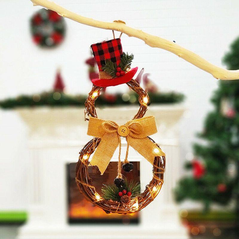 HOT LED de Noël Hanging Couronne 1pc Creative Accueil Décoration de Noël Couronne Pendentif Tenture Couronnes de Noël