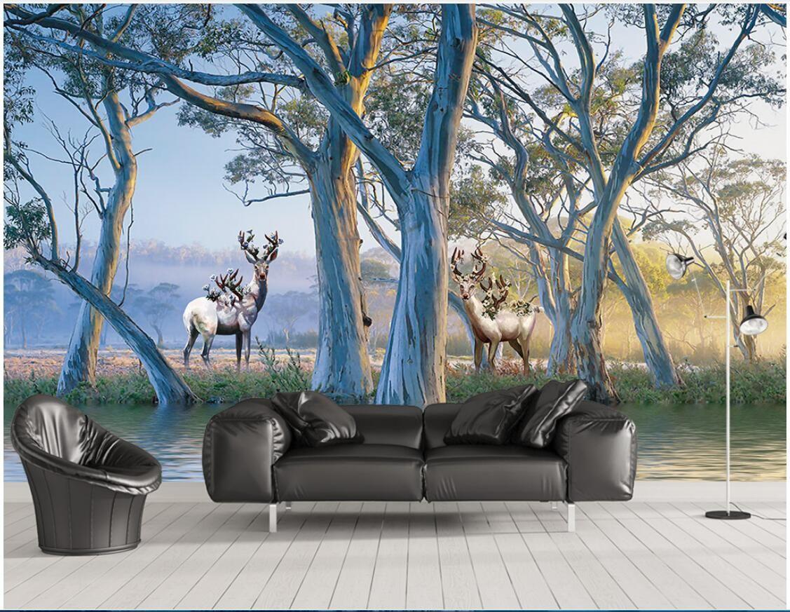 3d camera wallpaper panno personalizzato foto europeo bella foresta grande albero alce pittura a olio carta da parati per pareti 3 d rivestimento murale