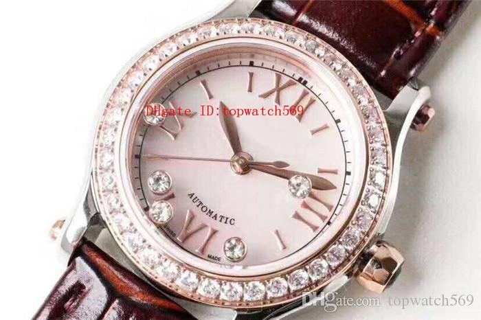TW Factory Happy Diamonds Часы Алмазная Женщина Часы швейцарские Cal.6T28 автоматические механические 28800 VPH перламутровый циферблат кожаный ремешок