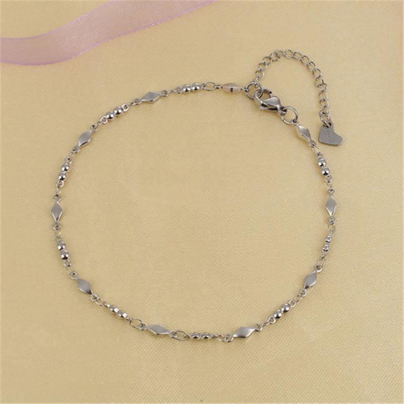 Simple Stainless Steel Chain Anklet For Women Rhombus Bracelet On the Leg Foot Jewelry Gift 23.7cm - 22cm Long, 1PC