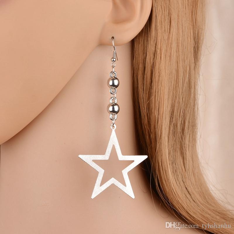 Einfache Temperament süße hohle fünfzackigen Stern-Ohrringe für Frauen 3Colors Weiblich Lange Ohrringe E1757