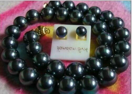 hot 10-12mm AAA Black tahitian Pearl Necklace Bracelet Jewelry Set