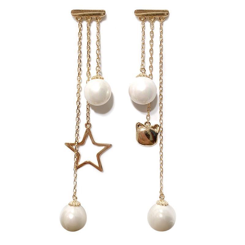Cute Owl Star Pearl Earrings Women Fashion Asymmetry Pendant Earring Brand Designer Jewelry Female Long Tassel Dangle