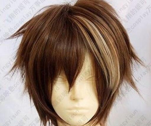 LL HOT Бесплатная доставка Hot! Бесплатная доставка Guilty Crown OUMA SHU Мода коричневый микс короткий парик косплей