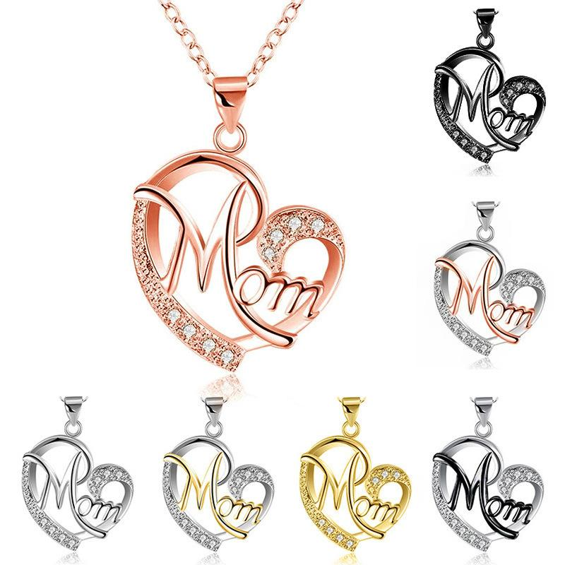 Charms MOM Heart Mother's Day Crystal Silver Women Necklace Lady Stone Fashion Pendant Necklaces Jewelry Gift
