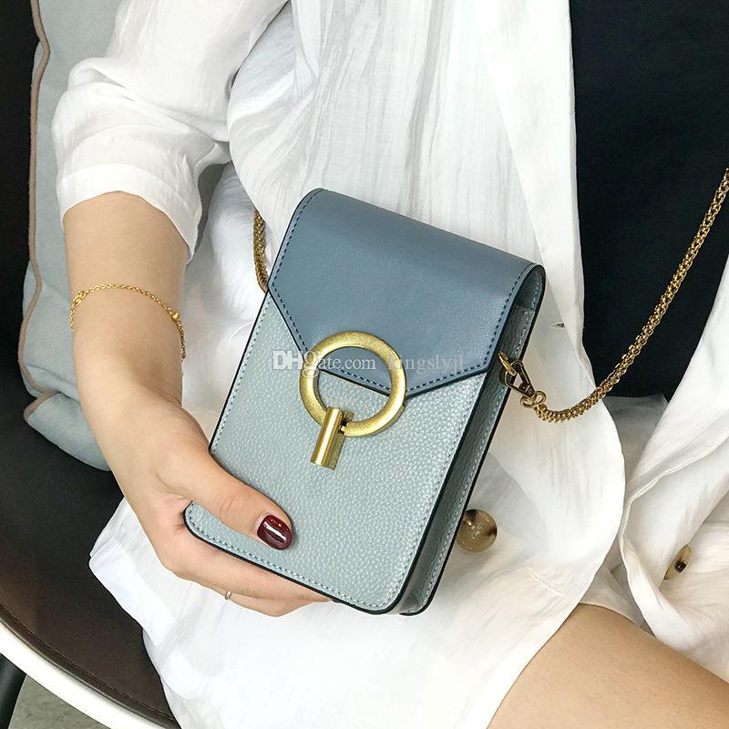 Cuir véritable femmes téléphone portable Sac épaule petites chaînes de conception Messenger Lady Mode d'embrayage de bourse bandoulière Sacs à main