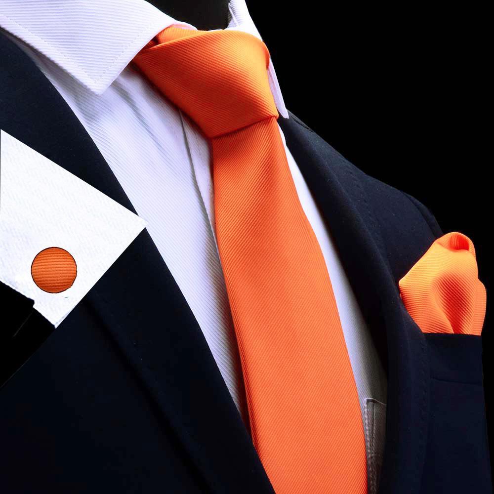 2020 Silk Solid Men's Tie Set 8cm Ties Handkerchief Cufflinks Sets For Man Red Gold Purple Necktie for Men Wedding Gift