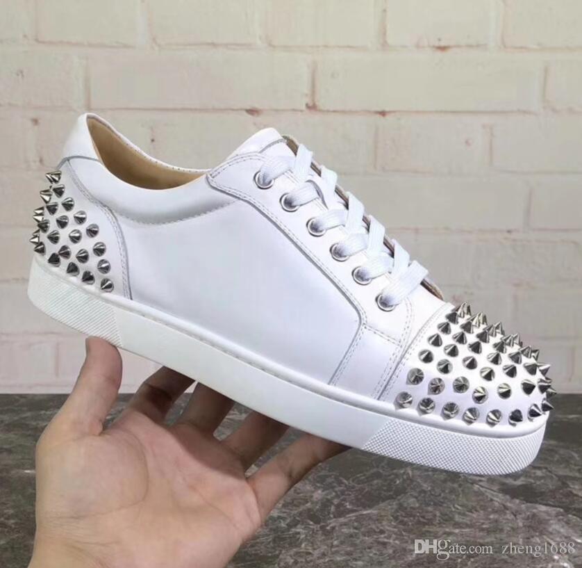 Дизайнерская обувь Шипованная Шипы Квартиры обувь Red Bottoms обувь мужская женская партия натуральная кожа кроссовки размер: 35-47 с коробкой мешок