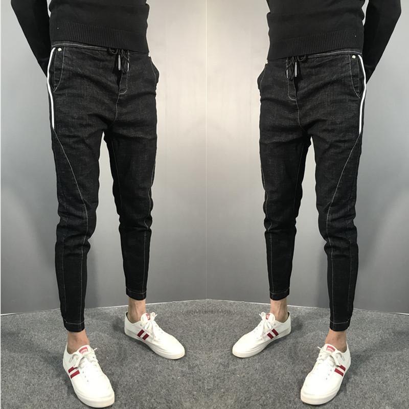 All-jogo calças de brim dos homens calças lengt tornozelo-encaixe tendência calças slim-leg estilo de Hong Kong todo-jogo perna feixe cara sociais