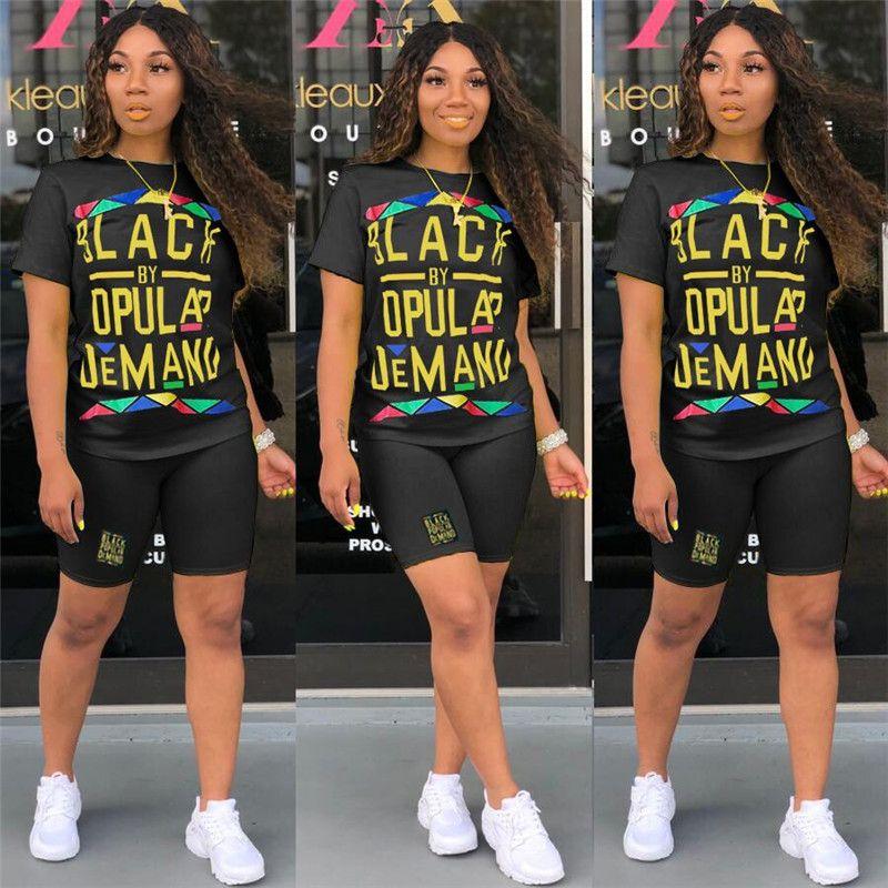 Женщины из двух частей шорты комплекты черные смарт-буквы футболки шорты летние спортивные костюмы случайные короткие леггинсы Jogger костюм одежды S-XXL C62502