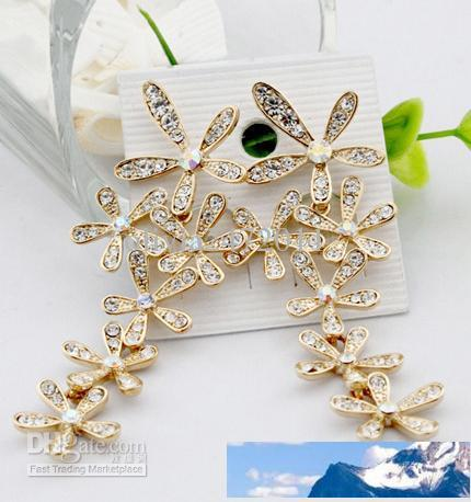 Fashion Gold/Silver Crystal Snowflake Falling Earrings Chandlier Drop Earrings Silver Women Jewelry Free Shipping JF3