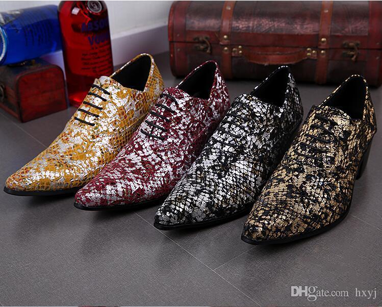 Nouveau Luxe Pointu Toe Man Alligator Banquet Oxfords En Cuir Verni Chaussures À Talons Hauts Formelle Robe De Mariage Chaussures H229