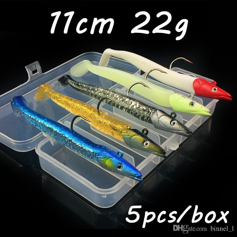 5pcs / caja Las plantillas de plomo + PVC Pesca señuelo suave Cebos Señuelos 5 colores 11cm 22g Mixta de anzuelos Pesca Caza y Pesca Accesorios BL_34