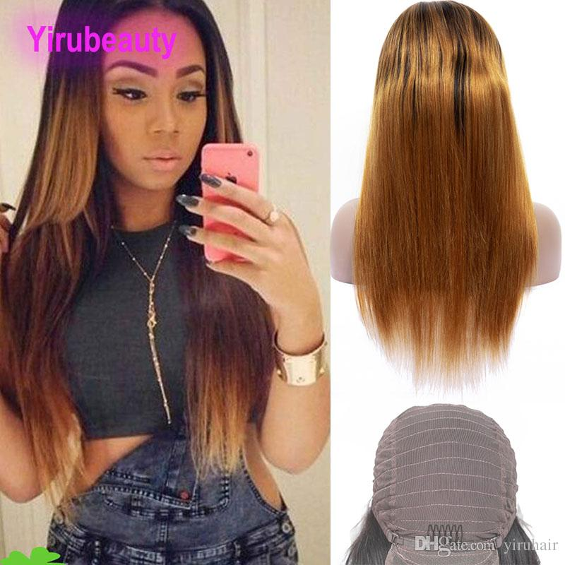 Peruvian Human Hair 1B/30 Ombre Hair Lace Front Wig Straight Virgin Hair Products 1B 30 Lace Front Wig