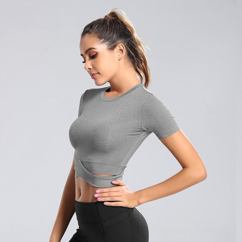 US-Stock-Designed Neue Frauen-Mädchen-Yoga-T-Shirt Schwarz Weiß Grau Sport-Gymnastik-Wears Laufen Outdoor Sport Top Fitness Workout FY9096
