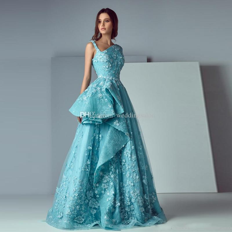 2019 Designer Blue A Line Evening Dresses Art Deco Inspired Neck 3d Flower Prom Gown Stain Dubai Arabic Formal Occasion Dresses Evening Dresses Perth Evening Formal Dresses From Weddingsalon 117 64 Dhgate Com