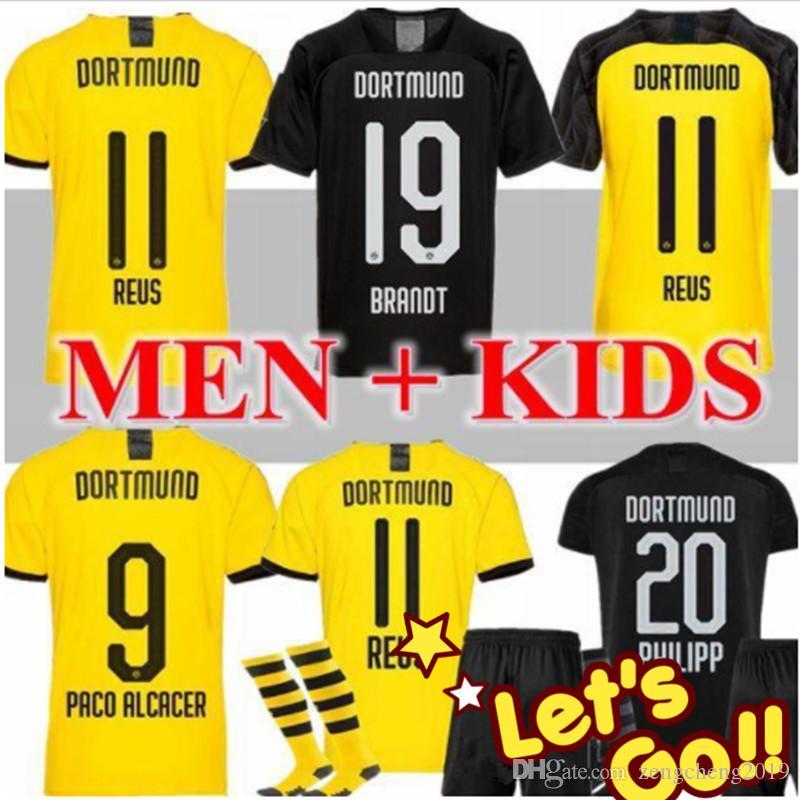 DortmundES KIDS футбол Джерси 2019 2020 BVB Майо DE FOOalit REUS PULISIC 2019 2020 DortmundES Футбол рубашки для детей Uniform