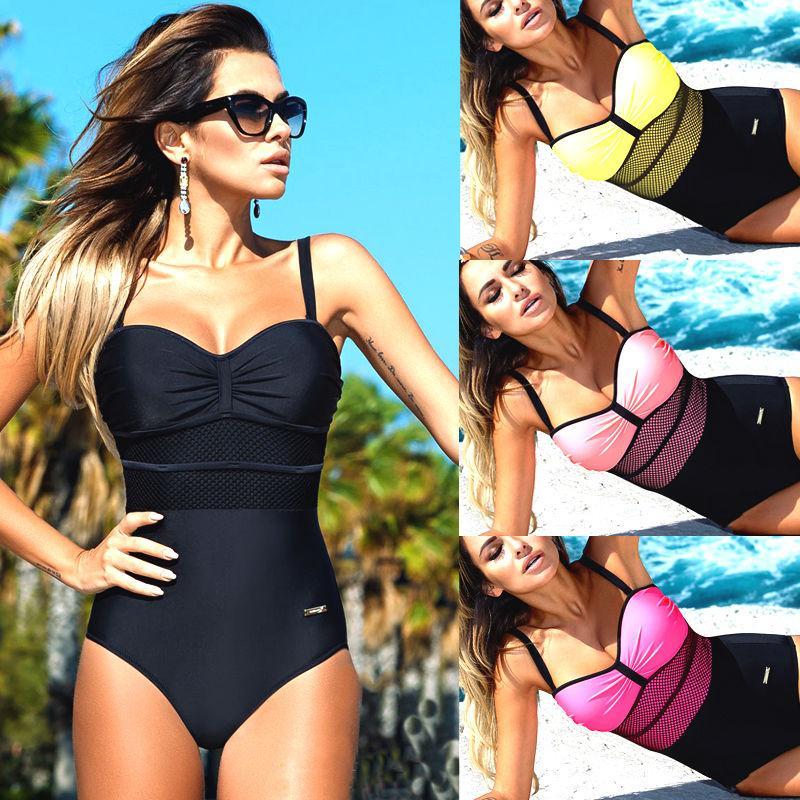 المرأة قطعة واحدة دفع ما يصل الرسن حزام مبطن ضمادة بيكيني ملابس السباحة ملابس السباحة Monokini ملابس