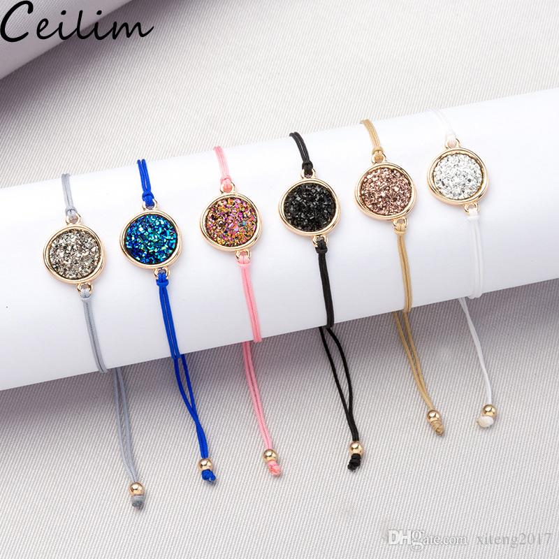 Handmade Crystal Quartz Druzy Bracelet New Arrival Colorful Natural Stone Rope Bracelets Bangles for Women Summer Beach Jewelry