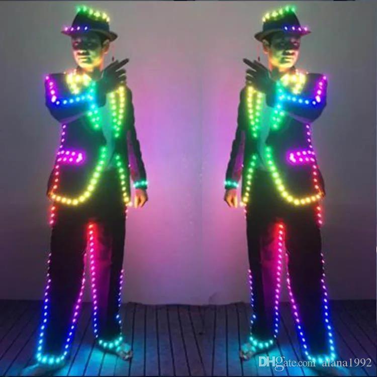 Traje de colores LED para baile Performace LED Ropa de escenario Trajes luminosos luminosos Traje RGB LED