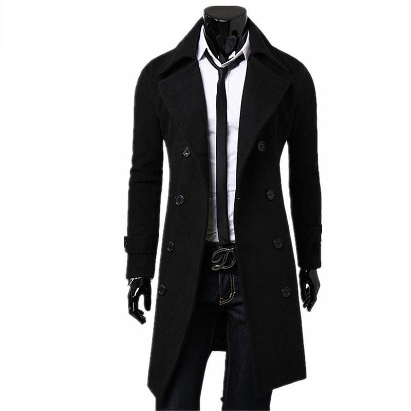 New Trench Coat Men 2020 Jacket Mens Overcoat Casual Slim Fit Windbreak Solid Long Coat Men Fashion Winter Coats Homme Plus Size