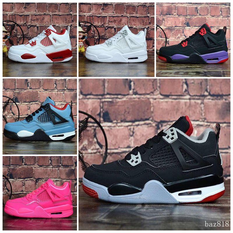 Nike Air Jordan 4 2020 NOVO BOYS menina miúdos TOP CORREDORES J4 ATLÉTICO Crianças ESPORTE tênis de basquete sapatos ao ar livre size28-35