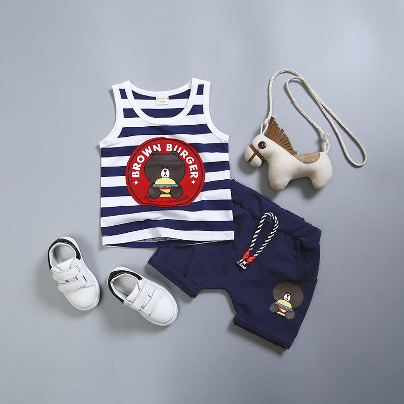 Verão menino baby girl roupas de algodão roupas novas menino urso dos desenhos animados do bebê menina ativa Vest + calça terno garoto conjunto de roupas 0-4 anos