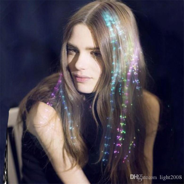 Fibre di Halloween Day fibra luminosa della treccia LED multicolore Flash Light ottici Trecce Bars partito Compleanni Ktv Concerti di capelli per le vacanze Luce